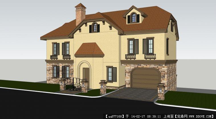一个小型的地中海风格别墅建筑设计SU精品模型图片