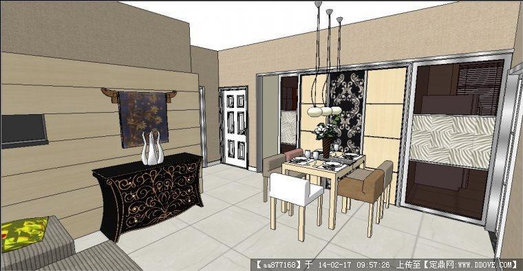 欧式风格户型室内精装su细致设计模型