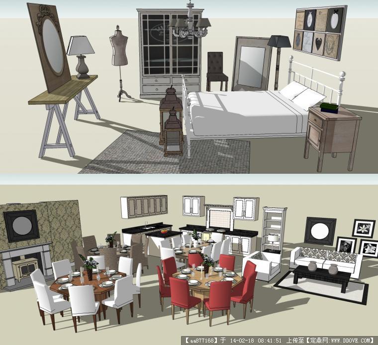 精品欧式现代餐厅橱柜组和卧室家具组su模型