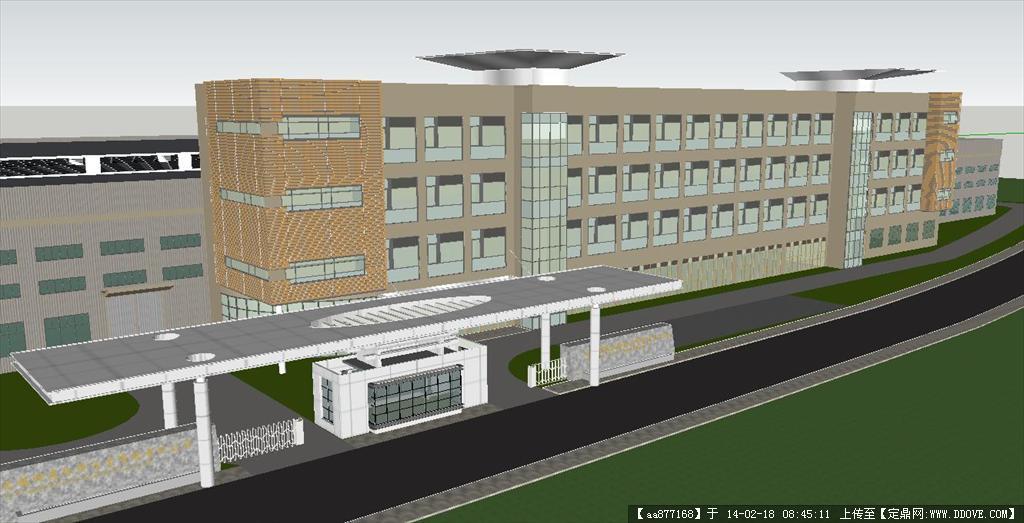 某厂区办公大楼 大门su精品建筑设计模型