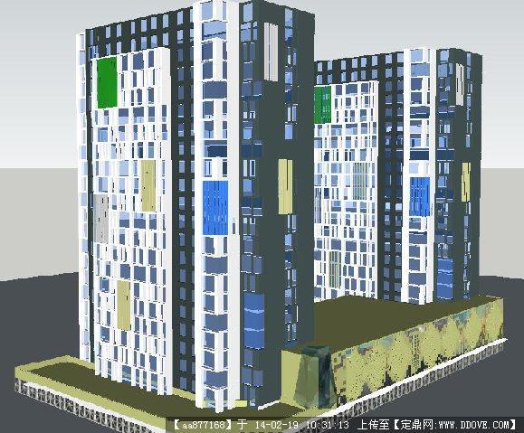 现代风格商业酒店+裙房立面su精品建筑设计模型