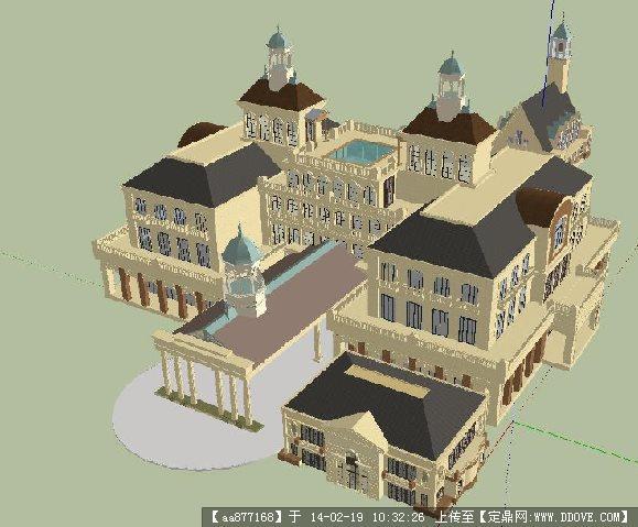 欧式酒店su精品建筑设计模型