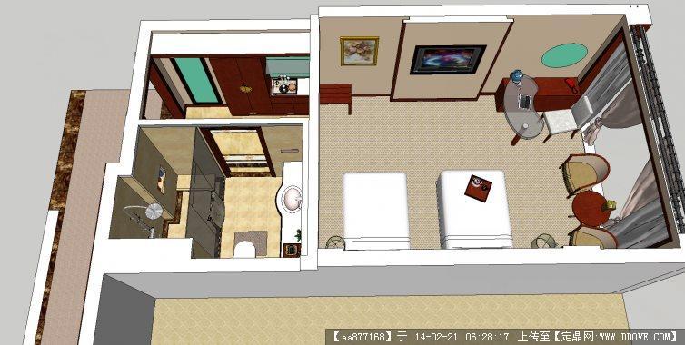 标准单身公寓室内设计方案su精品模型