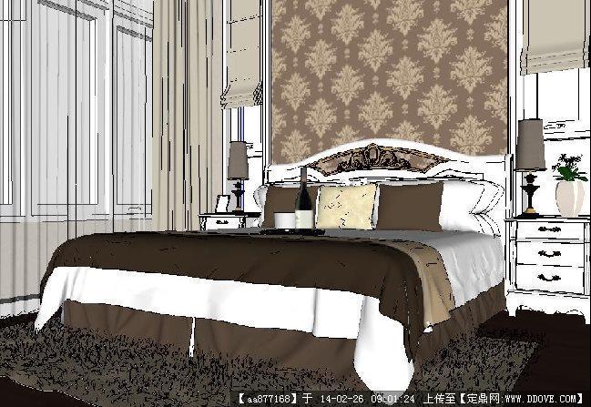 卧室su精品室内设计模型