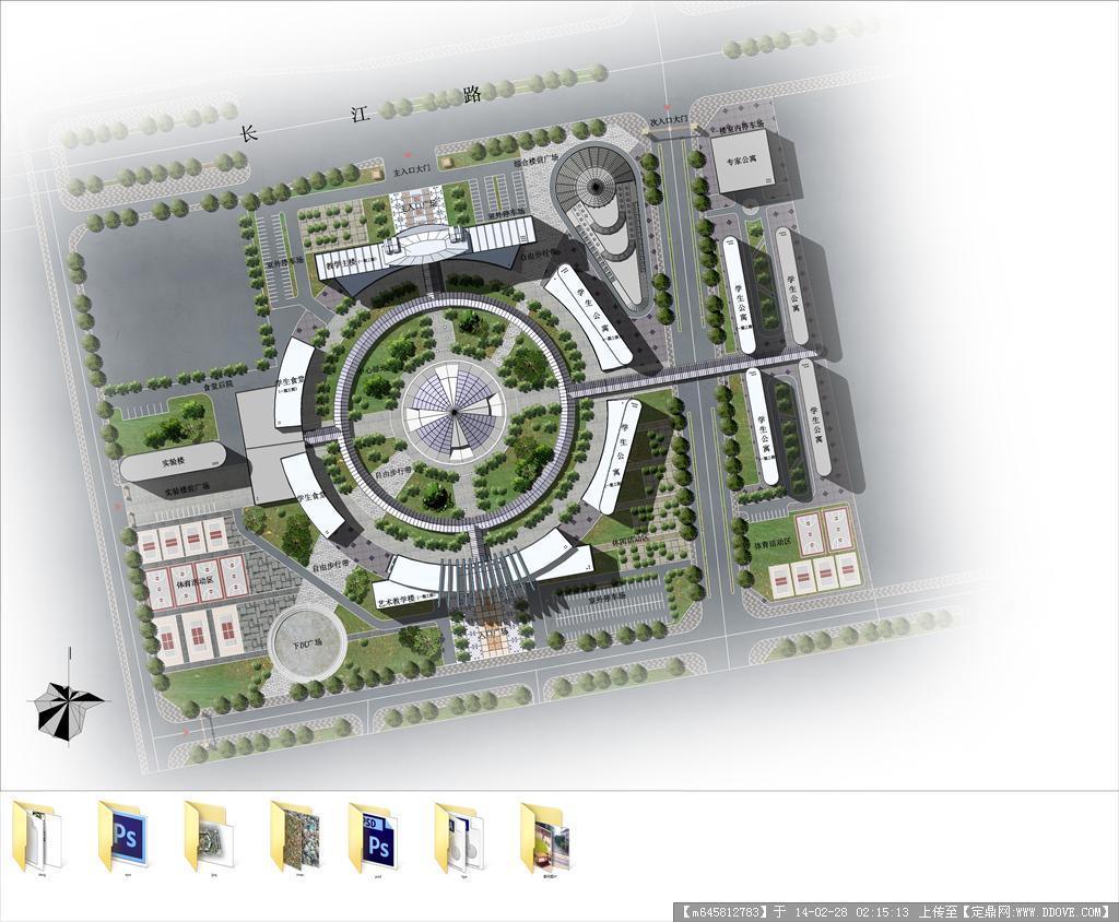 psd效果图全套源文件---某学校规划总图鸟瞰