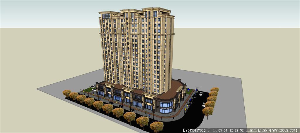sketch up 精品模型---欧式高层商业住宅公寓