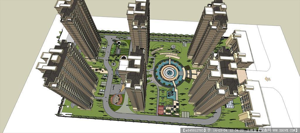 精品模型---欧式高层住宅小区及精细景观