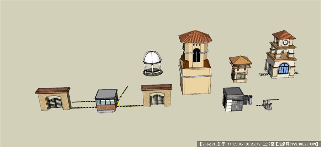 sketchup各类大门模型