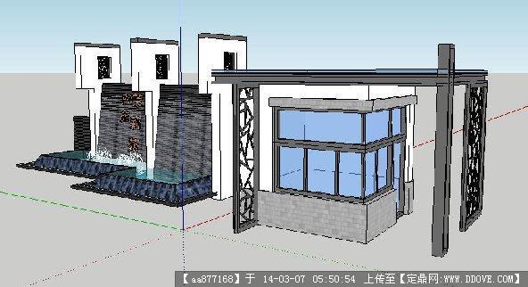 一组新中式入口su精品设计模型