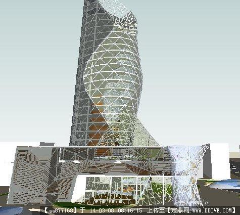 高层办公楼建筑SU精致设计模型果匠字体艺术设计图片