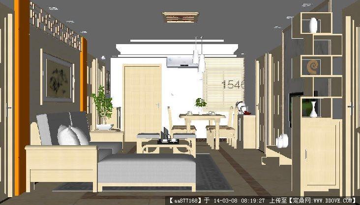 中式户型家装su精致设计模型