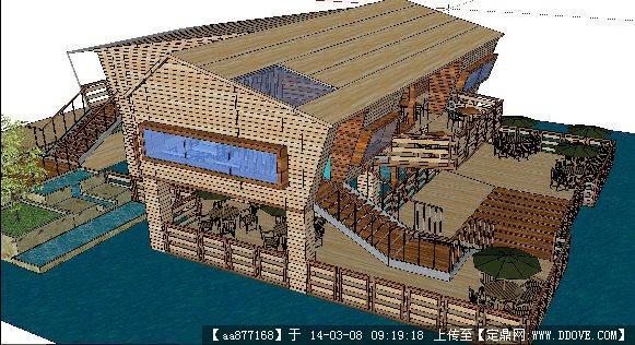水上休闲木屋su精致设计模型
