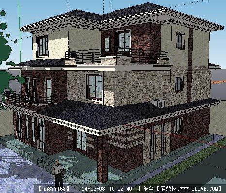 现代三层小别墅su精致设计模型