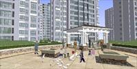 效果图 模型/简约风格小区建筑与景观SU精致设计模型...