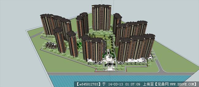 sketch up 精品模型---欧式高层住宅小区规划模型
