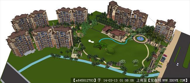 精品模型---欧式住宅小区及庭院景观模型
