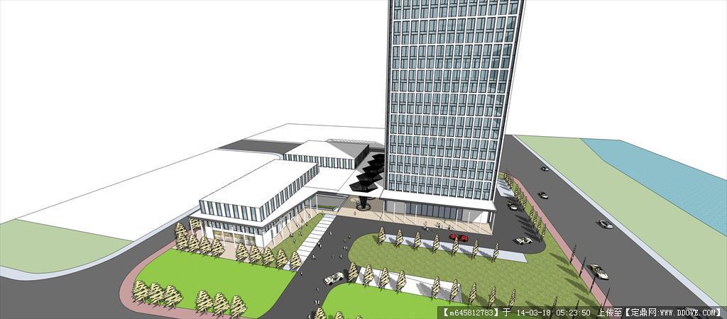建筑室内 sketch up 精品模型---现代高层商业办公楼  3 11.