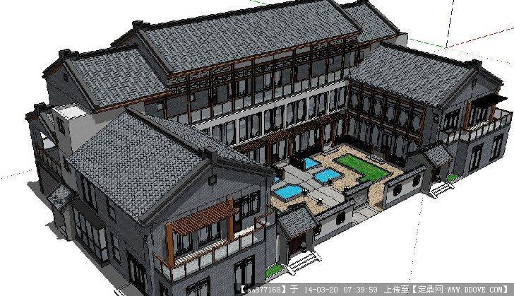 中式土豪双拼别墅su精细设计模型
