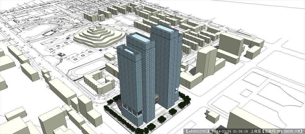 建筑室内 sketch up 精品模型---现代双塔式高层办公楼方案二  3 11.
