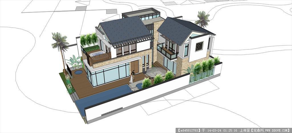 sketch up 精品模型---现代中式独栋别墅