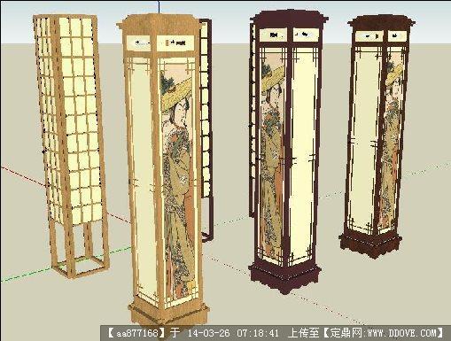 中式灯柱su精致设计模型