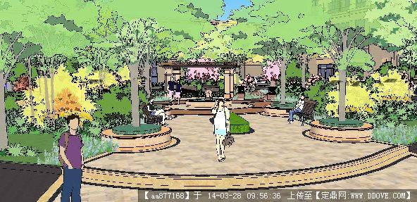 新古典风格小区景观su精致设计模型