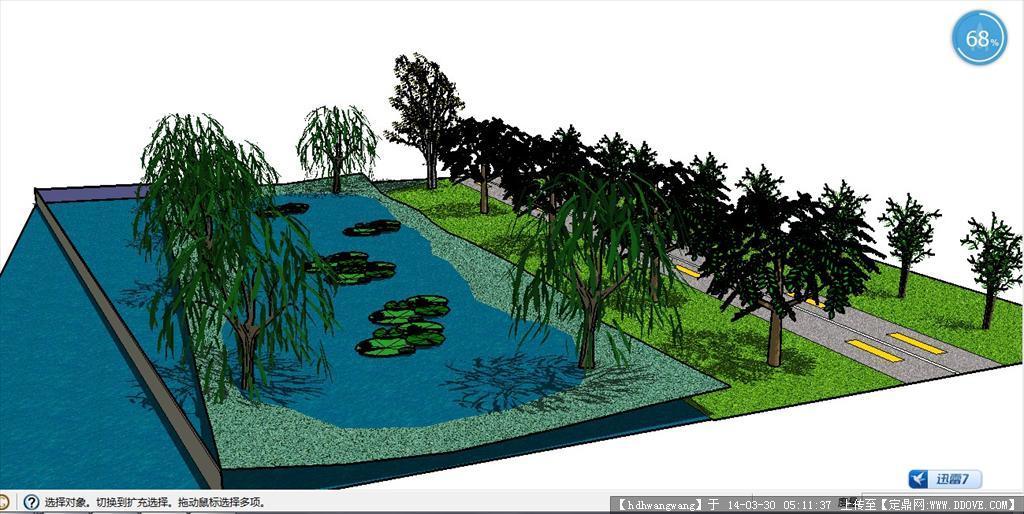 定鼎网 定鼎素材 sketchup草图大师模型 景观规划 水塘一角落的绿化