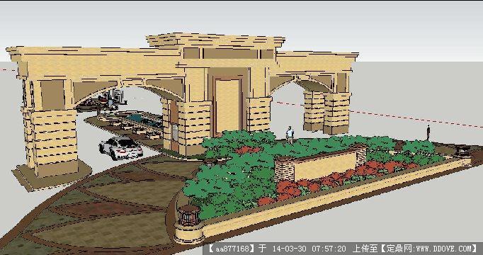 欧式入口景观su精致设计模型