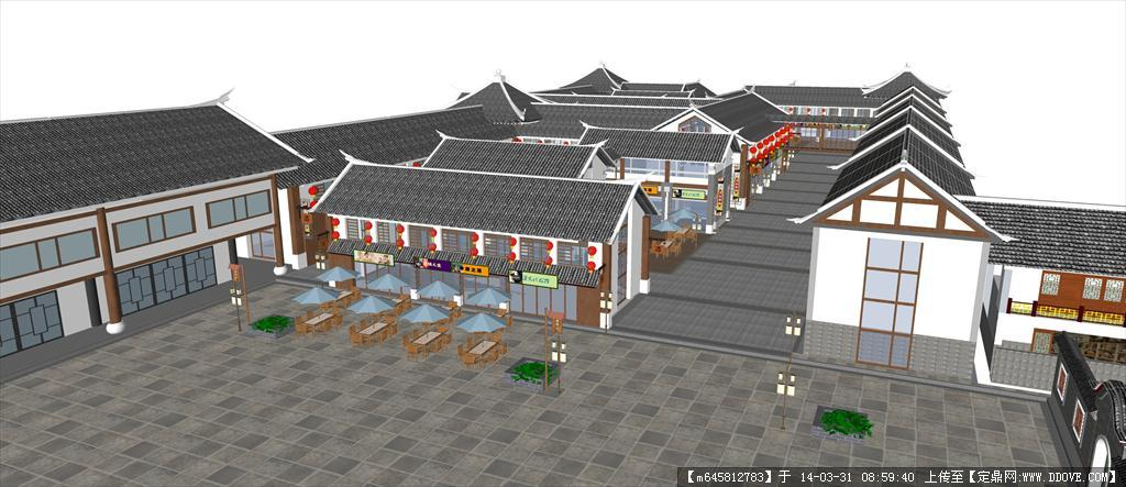 精品模型---中式古建商业街图片