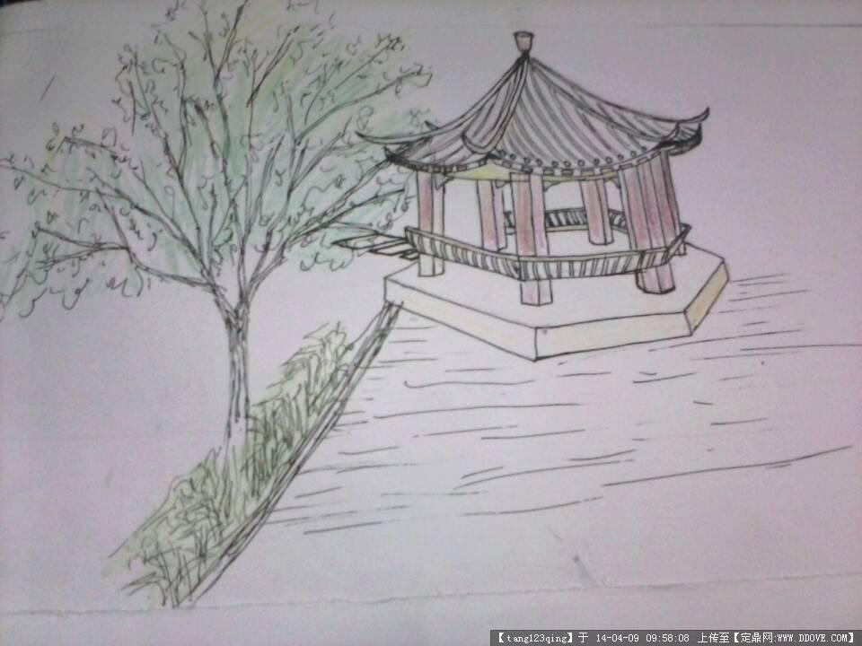 某湖边小景效果图的图片浏览,园林效果图,手绘效果,_.