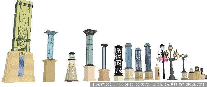 景观单体模型库——欧式灯柱图片