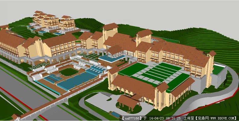 东南亚风格山地酒店su精致设计模型