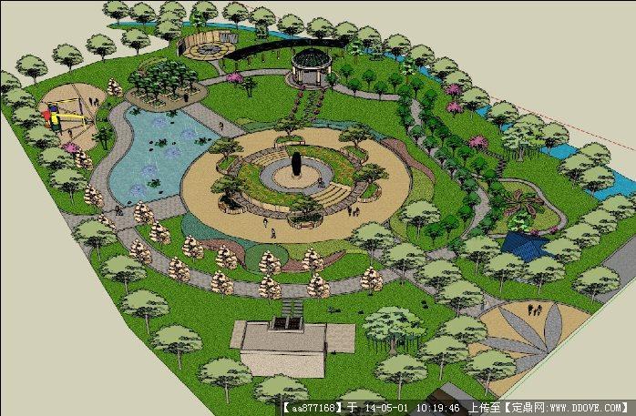 公园景观su精致设计模型