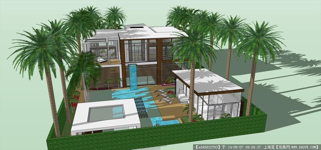 精品模型---美式豪华别墅