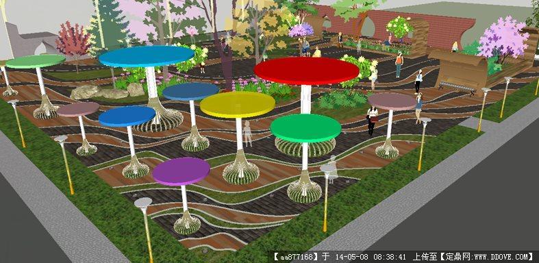 街头小游园广场su精致设计模型