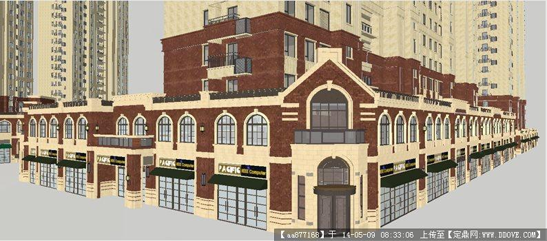 新中式海派风格沿街商业楼SU精致设计模型高清图片