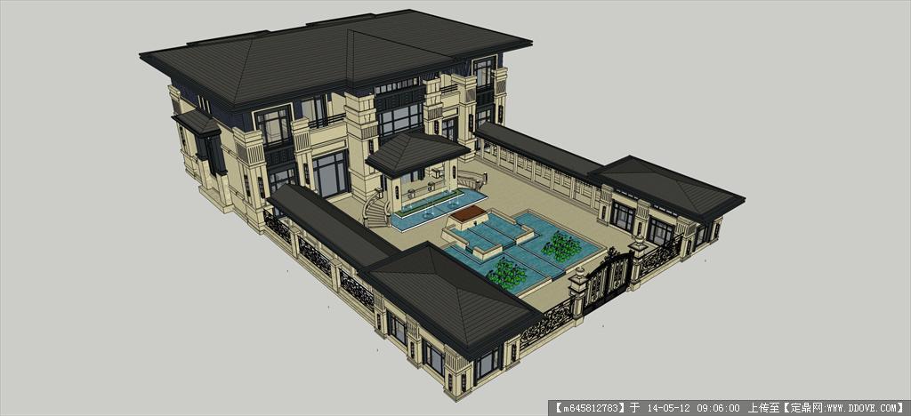 精品模型---欧式庭院别墅及景观