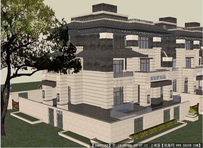 绿地联排别墅su精致设计模型