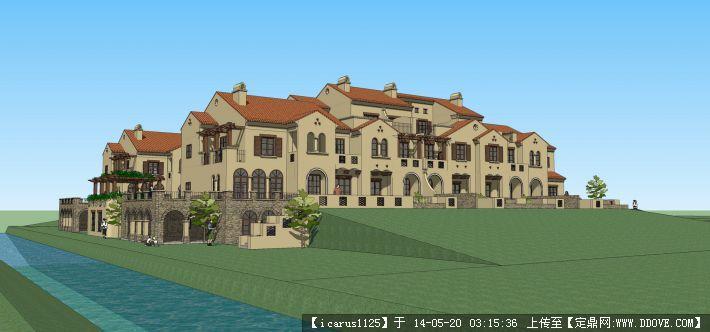 托斯卡納聯排別墅su模型