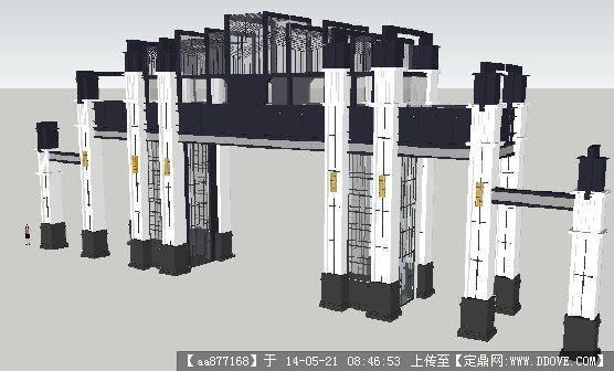 新中式大气小区大门su精致设计模型