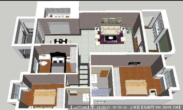 139平方大户型装潢su精致设计模型