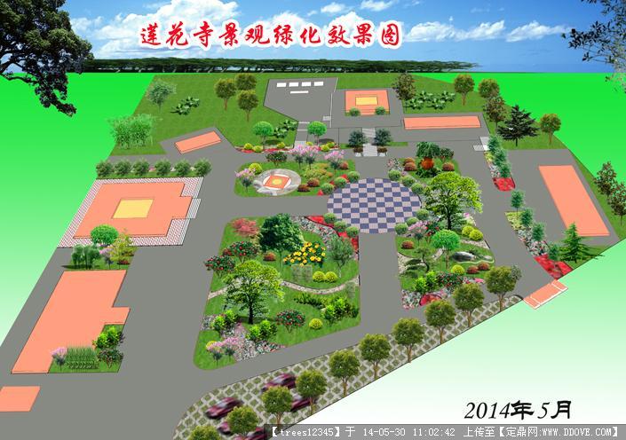 寺庙园林景观绿化效果图