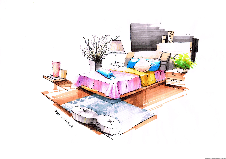 室内客厅手绘效果图_室内设计效果图手绘教程_室内手绘效果图 线稿