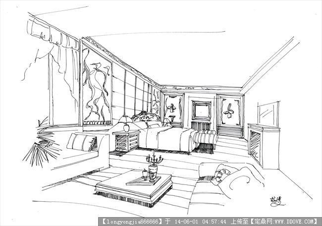 时尚室内设计简笔画分享展示