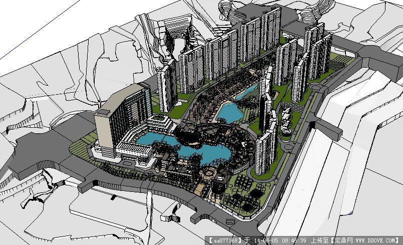 大型商业+广场+酒店+住宅su精致设计模型