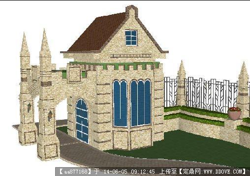 一个古朴欧式入口岗亭su精致设计模型