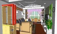 小清新客厅装潢SU(草图大师)精细设计模型