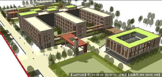 小學學校建筑與景觀規劃su精細設計模型
