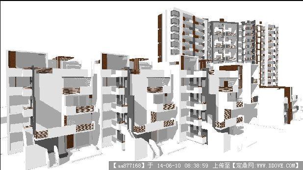 高層海景住宅樓su精細設計模型