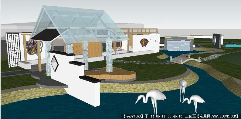 世博园展示区su精细设计模型
